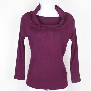 cable & gauge plum purple cowl neck sweater